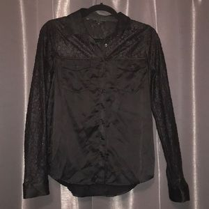Guess Silk Button Down Top Size XS Lace